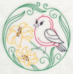 Scarlet Tanager and Daylilies (Vintage)