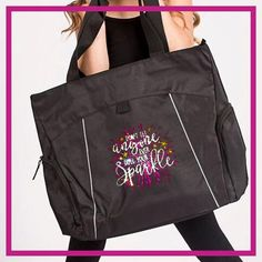 Don't Let Anyone Dull Your Sparkle! Fashion Bling Tote Bag with Rhinestone Logo