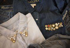 DIY jeweled collar shirts fashion jewels diy bling crafts collar shirts
