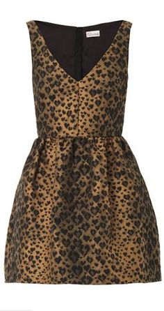 Leopard Jacquard Fit and Flare Dress