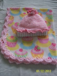 Pretty Pink Cupcake Fleece Baby Blanket by TREASURESbyCHARLOTTE, $20.00