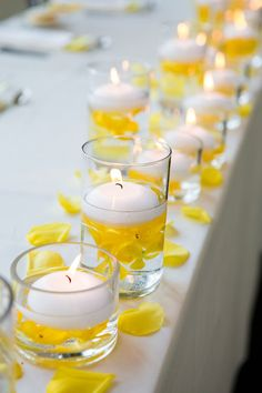 Gray and Yellow Canada Wedding Venue: Malaparte Floral Designer: Cool, Green & Shady Event Coordinator - Double Happiness Events Dress Designer: Enzoani Dress Store: B. Wedding Centerpieces, Wedding Table, Diy Wedding, Rustic Wedding, Wedding Reception, Wedding Decorations, Wedding Ideas, Yellow Centerpieces, Yellow Decorations