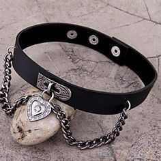 Heart-Dangle-Pendant-Chain-Punk-Goth-Leather-Necklace-Collar-Choker-New-BG8U