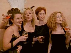 Charlotte York, Samantha Jones, Miranda Hobbes, and Carrie Bradshaw. Season Sex and the City. Carrie Bradshaw, Movies Showing, Movies And Tv Shows, The Witches Of Eastwick, City Quotes, Movie Quotes, Film Serie, Sarah Jessica Parker, City Style