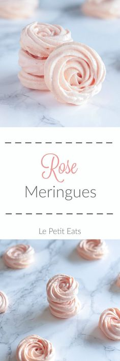 Rose Meringues are an elegant treat, delicately flavored with rosewater and tinted a pale blush pink- theyre almost too pretty to eat!