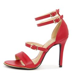 0157de82a396 The Shoe Republic LA Gemini Red Ankle Strap Heels have a series of matte  red faux leather straps with gold buckle accents