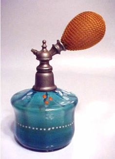 Vintage Czech Perfume Bottle Atomizer-- Handpainted