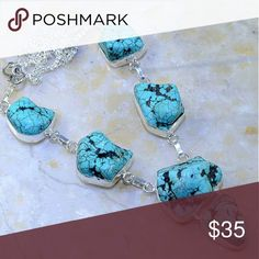 Gorgeous Genuine Turquoise 925 Necklace This is a beautiful Genuine Turquoise necklace. Absolutely wonderful handcrafted sterling silver necklace. Jewelry Necklaces