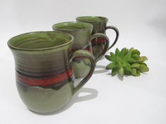 Large Coffee Cup, Ceramic Mug, Tea Cup, Pint Mug, Olive Green and Red on Terracotta by ClayismyArt on Etsy
