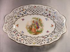 """SCHUMANN """"COURTING"""" OVAL 12 1/2"""" DEEP DISH~PIERCED PORCELAIN~US ZONE GERMANY"""