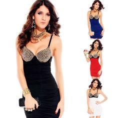 Silver Metallic Spike Rivets Studs Women Sexy Studded Bra top Strap Fitted Dress #New #Sexy #Clubwear