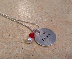 Love Hand Stamped Necklace / Valentine's Day by BrandedBlessings