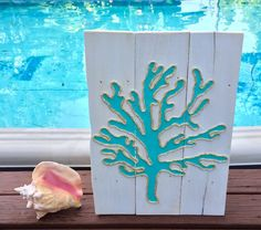 Handmade Coral with Rope Beach Pallet Art Coastal Decor Rope