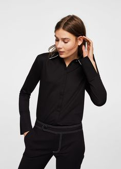 Contrast collar shirt - Women | MANGO USA