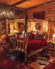 Buffalo check bedding, white string lights, twig chandelier, log bed, all in a c… - Schlafzimmer Log Cabin Bedrooms, Log Cabin Homes, Log Cabins, Log Home Bedroom, Rustic Cabins, Log Cabin Interiors, Log Cabin Living, Cozy Living, Log Bedroom Furniture