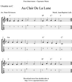 "✓""Au Clair De La Lune"" Ukulele Sheet Music - Free Printable"