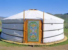 Decorative Door on Yurt, Nomadic Settlement, Orkhon Valley, Ovorkhangai, Mongolia, Asia.