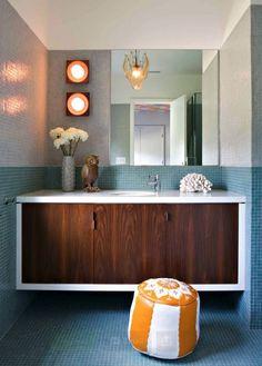 Mosaic tile in bathrooms - more budget-friendly than Heath