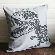 Grey Dinosaur Pillow Cover 16x16""