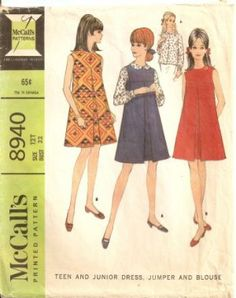 vintage teens sewing pattern jumpers ....O NO! I'm having flashbacks!!!!