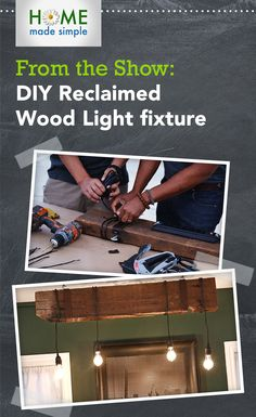 Update your décor by reusing materials you likely already have around the house. Designer shows you how to give your pendant lights a rustic look with this reclaimed wood project. For more great projects watch Home Made Simple, Saturdays on OWN. Diy Wood Projects, Diy Projects To Try, Home Projects, Project Ideas, Craft Ideas, Home Made Simple, Make It Simple, Free Printable Coupons, Pendant Lights