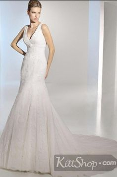 Attractive Mermaid  White  Beadings Appliques Ruffles V Neck Lace Floor Length Wedding Dress find it on kittshop.com