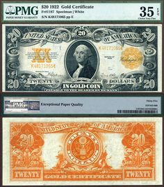 US 1922 $20 Gold Certificate PMG Graded Choice Very Fine 35EPQ Stacks Bowers 11-30-2014 BUBCL