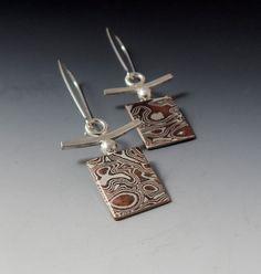 PAtterned earrings with cross piece unique - one off Mokume Gane Earrings Metal Clay Jewelry, Jewelry Art, Jewelry Design, Jewelry Ideas, Polymer Beads, Polymer Clay Earrings, Buy Earrings, Handcrafted Jewelry, Making Ideas