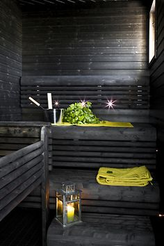 Black Sauna with natural light.