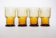 Vintage Amber Glassware Set Unique Country by merrimentvintage, $18.00