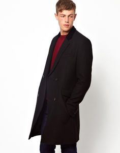 ASOS Double Breasted Wool Overcoat In Black With Velvet Collar $198.05