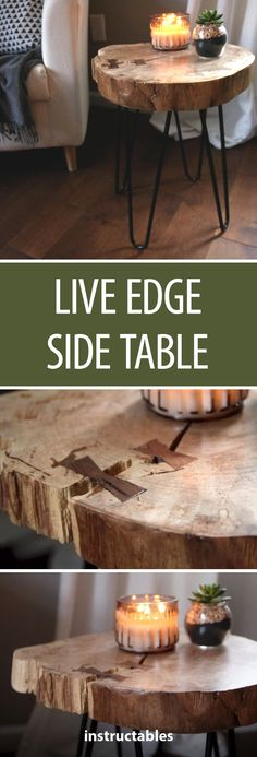 Live Edge Side Table  #furniture #woodworking