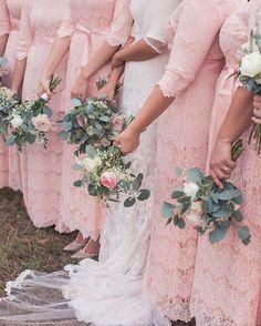 Blush pink lace modest bridesmaid dresses by Dainty Jewell's. Photography: JMP Weddings | http://jmcateer.smugmug.com/