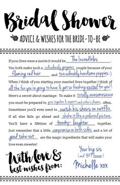 Fun Printable Bridal Shower Advice Cards Free