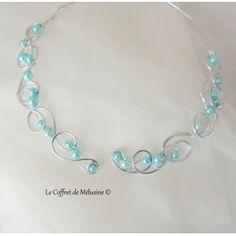 """Collier """"Riviera"""" argent et perles bleues"""