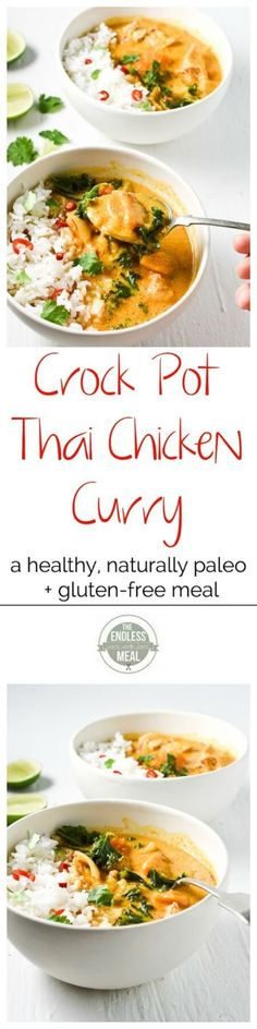 The 24 Most Pinned Clean Eating Crock Pot Recipes Clean Eating Crock Pot Thai Chicken Curry Recipe Curry Recipes, Paleo Recipes, Asian Recipes, Dinner Recipes, Cooking Recipes, Paleo Dinner, Dinner Healthy, Dinner Menu, Quick Recipes