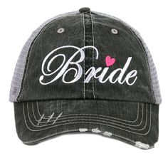 Grey gray Bride Trucker Hat. These have a velcro adjustable back with a pony tail hole. Perfect for bridals, bridal shower, bachelorette party, rehearsal dinner! Buy it now at Jourdan's Jewels. Also available in brown.