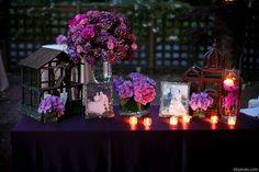 purple guestbook table