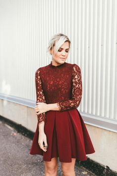 Dress: tumblr red mini pleated red lace lace long sleeves christmas christmas holiday holiday season