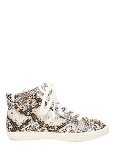 Teen girl studded python high top. Featuring full size zip and front laces. Synthetic upper & lining with rubber sole.