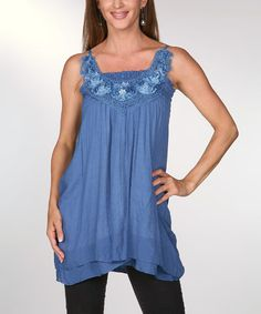 Love this Blue Floral Crochet Tank by Ananda's Collection on #zulily! #zulilyfinds. I like the pattern.