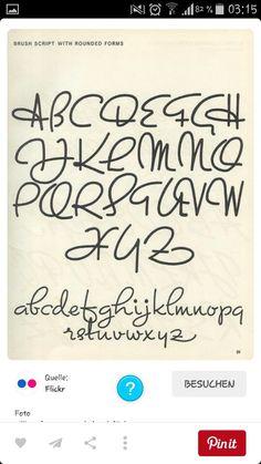 Brush script with rounded forms - Script lettering Cursive Alphabet, Hand Lettering Alphabet, Script Lettering, Lettering Styles, Calligraphy Letters, Typography Fonts, Brush Lettering, Caligraphy, Brush Script