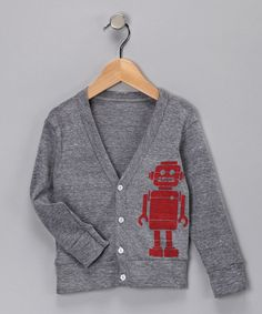 Robot Cardigan - picture this - one big size, one little for matching, handsome boys