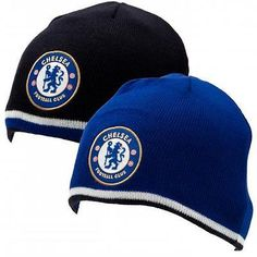 ae61383a5a2 Chelsea Fc Reversible Knitted Beanie Hat Cap 2 in 1 - Black or Blue