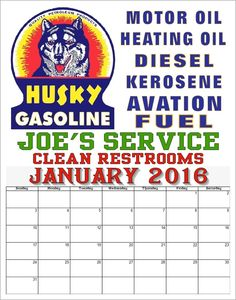 Antique style advertising calendar Husky Oil Gasoilne Automobile Car