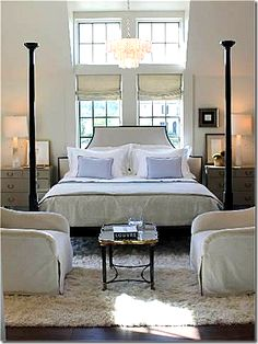 room layout + bed placement in front of windows. Another cool way to add function and interest to the master suite Bedroom Retreat, Dream Bedroom, Home Bedroom, Bedroom Decor, Serene Bedroom, Bedroom Ideas, Boudoir, Bed Placement, Up House