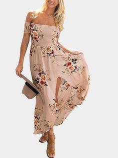 3973d6de1c0 Khaki Random Floral Print Off The Shoulder Beach Dress With Slit Hem -  US 17.95