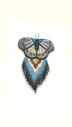 Beaded Barrette Sead Bead Embroidery Beadwork Blue Jewelry Jewellery Butterfly Hair Clip Large Fringed Barrette. $50.00, via Etsy.