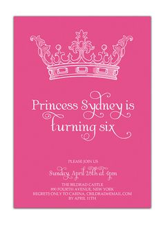 {Sydney} Princess Birthday Invitation Pink Crown by digibuddhaPaperie, $18.00  https://www.etsy.com/listing/89391719/princess-birthday-invitation-pink-crown?ref=v1_other_2