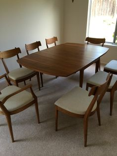 Drexel Declaration Walnut Dining Table W/ 8 Chairs